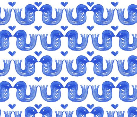 Watercolour lovebirds blue fabric by kimmygowland on Spoonflower - custom fabric