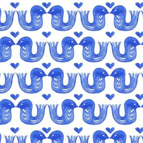 Watercolour lovebirds blue