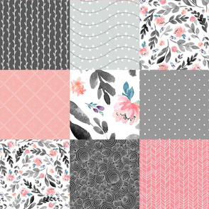 Peach / Gray Floral Quilt Panel - Cheater Quilt, Patchwork Blush Peach Watercolor Peonies & Gray Leaves. Ginger Lous