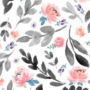 Blush Peach Watercolor Peonies & Dark Grey Leaves - LARGE Scale