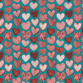 Textured Hearts on Viridian