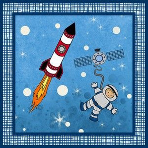 """6x6"""" square - Astronaut and Rocket"""
