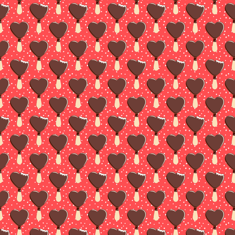 (small scale) heart shaped ice-cream - red with dots C18BS fabric by littlearrowdesign on Spoonflower - custom fabric