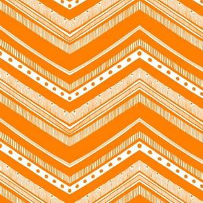 Doodle Chevron - Orange on White
