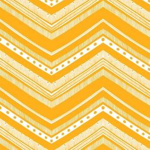 Doodle Chevron - Yellow on White