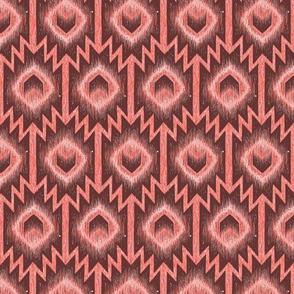 Boho aztec arrow mud cloth in living coral