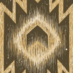 Boho mud cloth arrows aztec kilim in honey mustard