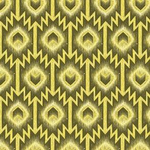 Boho Kilim ikat aztec arrow in yellow lime