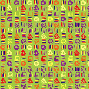 Geometric Shapes on Lime Green