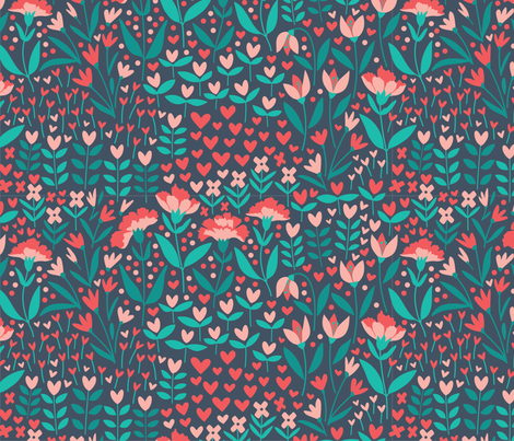 Floral Love fabric by jillcookdesigns on Spoonflower - custom fabric