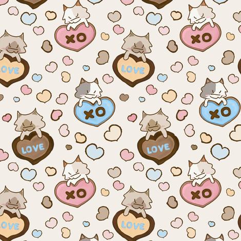 Be my Valentine Kitty fabric by meowandcraft on Spoonflower - custom fabric