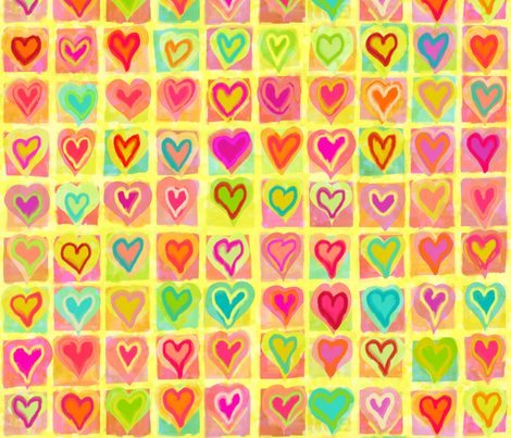 Leaping Hearts - Watercolor fabric by pichi on Spoonflower - custom fabric