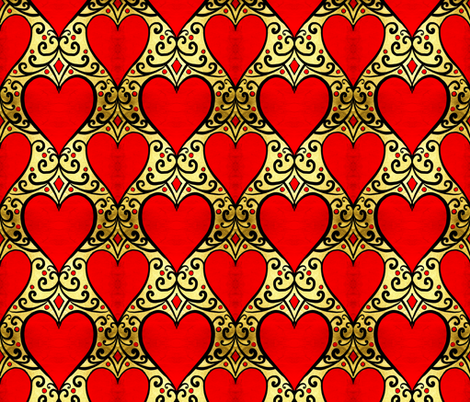 gilded love red hearts fabric by beesocks on Spoonflower - custom fabric