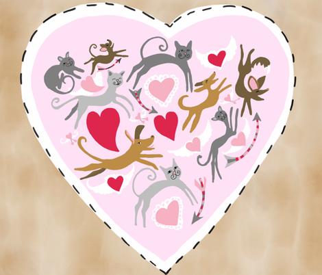 Valentine Big Heart Pillow fabric by greenbelly_studios on Spoonflower - custom fabric