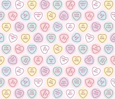Sweet Candy Love Hearts fabric by beverley_glanville on Spoonflower - custom fabric