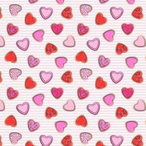 """(1/2"""" scale) heart sugar cookies - valentines - pink stripe C18BS"""