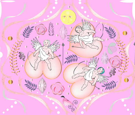 Cherubs in Pink fabric by gracelillydesigns on Spoonflower - custom fabric