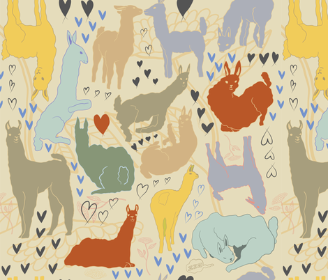 lamalove fabric by nina_leth on Spoonflower - custom fabric