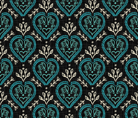 Hearts & Leaves - Teal, H White, Black fabric by fernlesliestudio on Spoonflower - custom fabric