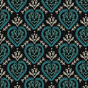 Hearts & Leaves - Teal, H White, Black