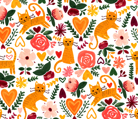 Valentine Cats  fabric by tigatiga on Spoonflower - custom fabric