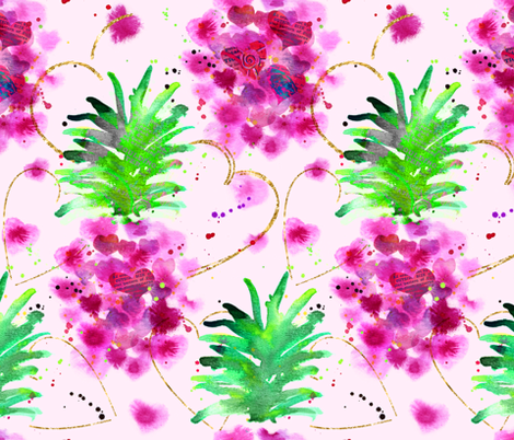 Valentine Pineapples!! fabric by karismithdesigns on Spoonflower - custom fabric