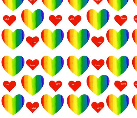 Rainbow Hearts with Love fabric by sharsu on Spoonflower - custom fabric