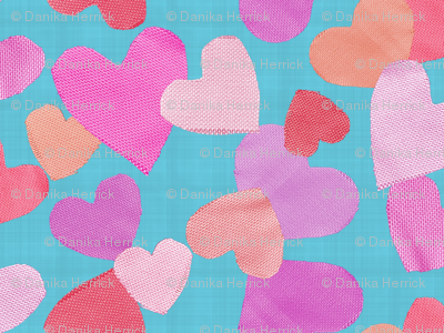 Fabric Cut Out Hearts in Orange, Pink and Aquas