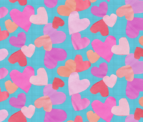 Fabric Cut Out Hearts in Orange, Pink and Aquas fabric by danika_herrick on Spoonflower - custom fabric