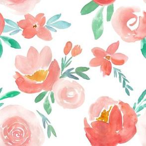 Dreamy Coral Watercolor Florals