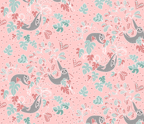 Sloth Love fabric by gartmanstudio on Spoonflower - custom fabric