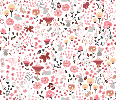 Say it with Flowers.... and mice and butterflies lol! fabric by paula_ohreen_designs on Spoonflower - custom fabric