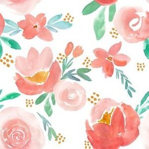 Dreamy Coral Watercolor Florals with Dots
