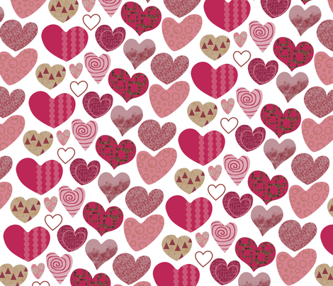 Valentine-hearts fabric by freevam on Spoonflower - custom fabric