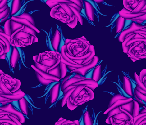 Purple Bouquet of Roses fabric by anxelaruxa on Spoonflower - custom fabric