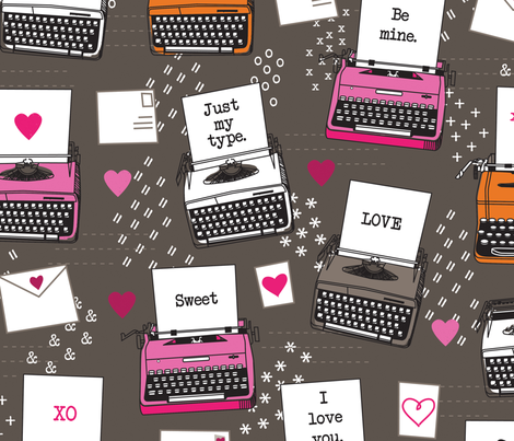 Just My Type Valentines Typewriters fabric by lellobird on Spoonflower - custom fabric