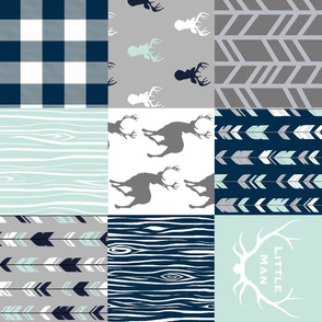Reverse Rotation - little man patchwork in mint, navy, grey