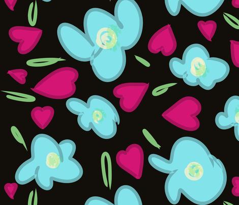 Hearts & Flowers fabric by printscharming on Spoonflower - custom fabric