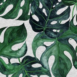 """40"""" Jumbo Monstera Leaves -dark green on grey linen - wallpaper"""