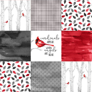 Cardinals appear when angels are near//Version 2 - Wholecloth Cheater Quilt