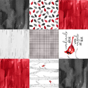 Cardinals Appear when angels are near//Version 2 - Wholecloth Cheater Quilt - Rotated