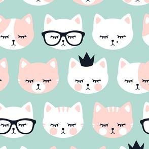 (jumbo scale) cat faces on dark mint C19BS