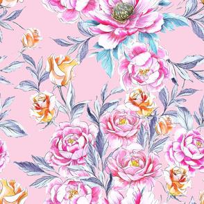 Roses 'n Peonies Marshmallow Pink