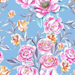 Roses 'n Peonies Dusty Blue