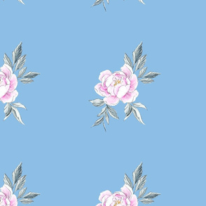 Peony Co-ordinate Dusty Blue