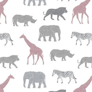 Safari animals - multi mauve - elephant, giraffe, rhino, zebra