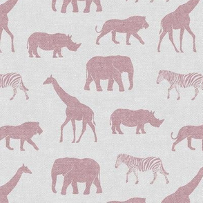Safari animals - mauve on grey - elephant, giraffe, rhino, zebra