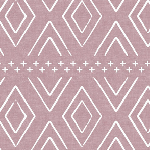 Safari Wholecloth Diamonds on mauve - farmhouse diamonds - mud cloth fabric
