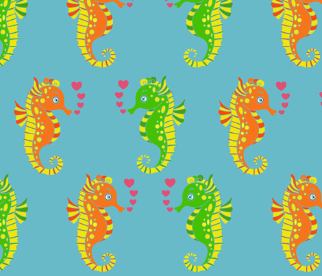 Seahorses in love  fabric by mandala_flower on Spoonflower - custom fabric