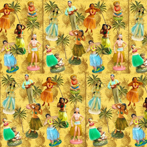 Hula Statues on Pineapple Squares